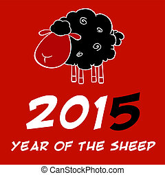 Year Of The Sheep 2015 Design Card With Black Sheep And...