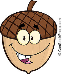 Smiling Acorn Cartoon Mascot Character