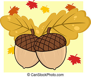 Two Acorn With Oak Leaves