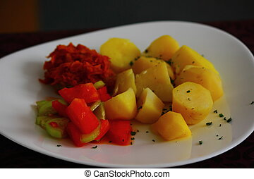 main dish for lunch - potatoes with fish and cucumbers with...