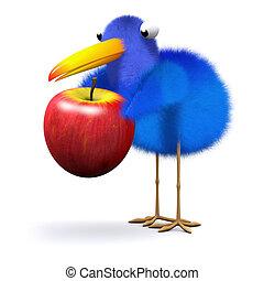 3d Bluebird finds an apple - 3d render of a bluebird with an...