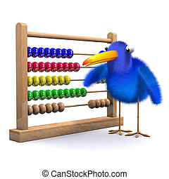 3d Bluebird with abacus - 3d render of a bluebird with an...