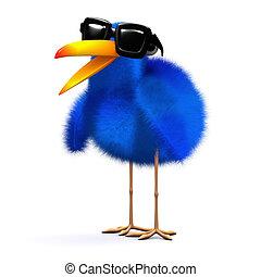 3d Bluebird in sunglasses - 3d render of a bluebird wearing...