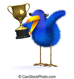 3d Bluebird with a gold trophy