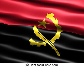 Flag of Angola, computer generated illustration with silky...