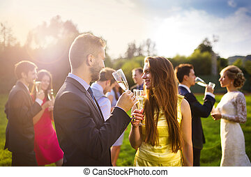 Wedding guests clinking glasses while the newlyweds drinking...