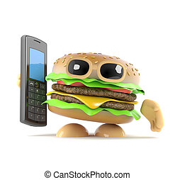 3d Burger holding a mobile phone - 3d render of a beefburger...