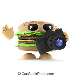 3d Burger takes a photo with his camera - 3d render of a...