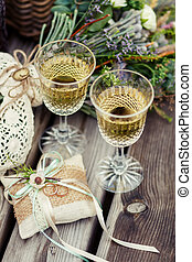 Wedding decor - Wedding background, champagne and wedding...