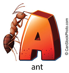 A letter A for ant - Illustration of a letter A for ant on a...