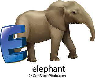 A letter E for elephant - Illustration of a letter E for...