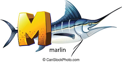A letter M for marlin - Illustration of a letter M for...