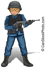 A soldier with a gun - Illustration of a soldier with a gun...