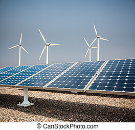 clean energy background , solar panels and wind power
