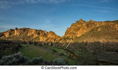 Smith Rocks Day Night Sunset 536 - Time lapse from day to...