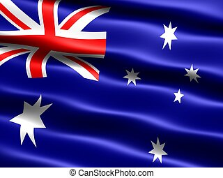 Flag of Australia, computer generated illustration with...