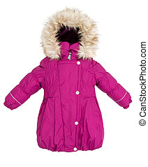 Women winter jacket - Childrens Women winter jacket isolated...