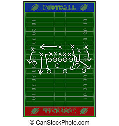 Football field gameplan - Concept illustration showing an...