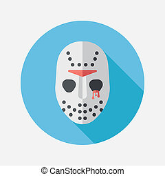 Halloween mask flat icon with long shadow,eps10