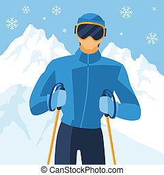 Man skier on mountain winter landscape background.