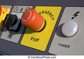Emergency Stop - emergency stop and power switch on motor...