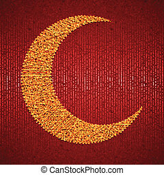 Moon on red paper background for holy month of muslim community Ramadan Kareem. Vector illustration