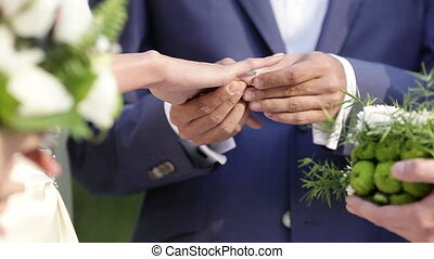 Exchanginge of wedding rings - Two white people groom and...