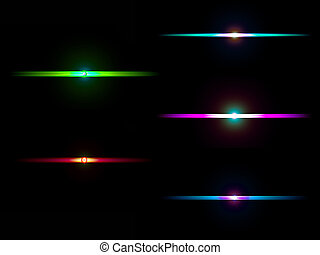Set of colorful light spots with lens flare On black