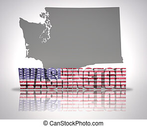 Washington State - Word Washington with National Flag of USA...