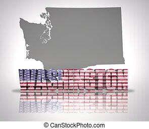 Washington State - Word Washington with National Flag of USA...