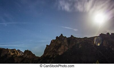 Smith Rocks Stars Moon Milkyway 550 - Time lapse from day to...
