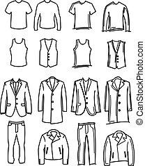clothes - simple vector set of hand-drawn men clothes