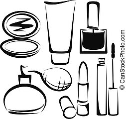 cosmetics - Simple vector illustration of a cosmetics set