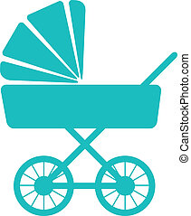 Simple icon of baby pram - Simple vector illustration of a...