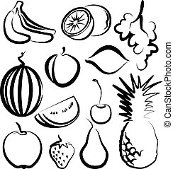 Illustration with a set of fruit