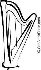 harp - Simple vector illustration of a harp sketch