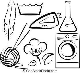 washing items set - Simple vector illustration of a washing...