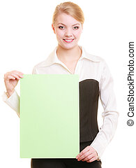 Ad. Businesswoman holding blank copy space banner -...