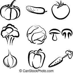 Illustration with a set of vegetables