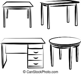 Illustration with a set of furniture - Simple vector...