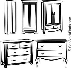 wardrobe - Simple vector illustration of a wardrobe sketch