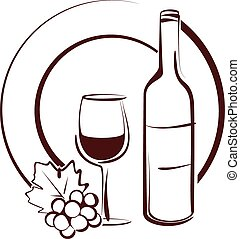 wine still life - Simple vector illustration of a wine still...