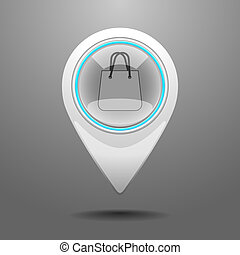 Glossy Shopping Center Icon - Glossy Pin Icon with the...