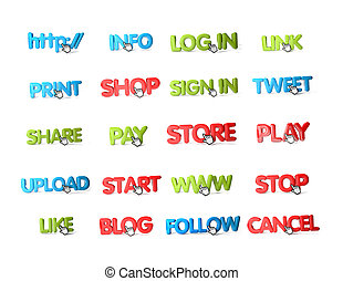 icons - twenty colorful icons with a hand cursor