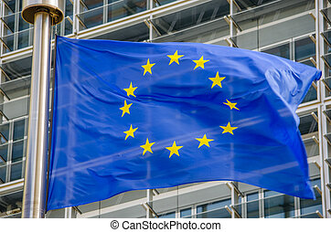 EU flag in front of European Commission in Brussels