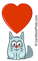 cartoon cat with big heart - isolated cartoon cat with big...