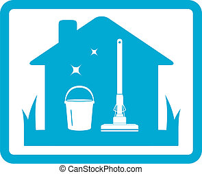 cleaning home icon - isolated cleaning home icon on blue...