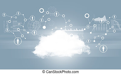 Cloud with network and graphs. Technology background