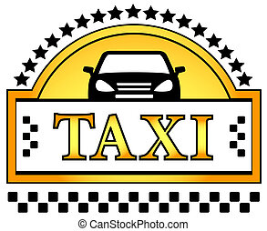 taxi icon with star and car silhouette - yellow taxi icon...