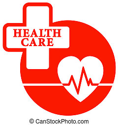 red health care icon with heart - cardiogram tests symbol